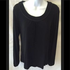 CHICO'S Travelers Top Scoop Black Sweater Pullover
